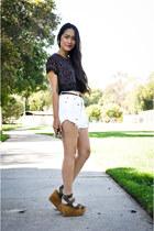 polka dots top - shorts - platforms joe jeans wedges