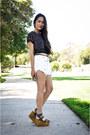 Shorts-platforms-joe-jeans-wedges-polka-dots-top