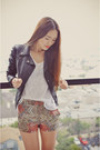 Salmon-prints-zara-shorts-black-faux-leather-jacket-white-basic-zara-t-shirt