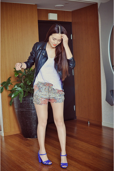black faux leather jacket - salmon prints Zara shorts - white basic Zara t-shirt