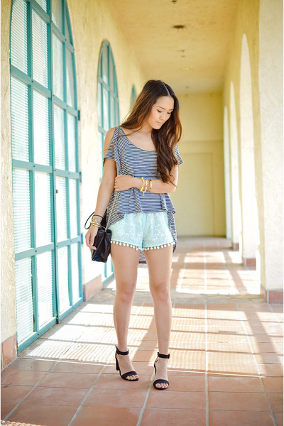 aquamarine cotton balls LF shorts - black heel sandal Zara sandals