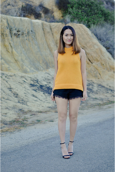 black laces Zara shorts - carrot orange knit Zara top