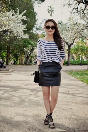 black hm skirt - white hm shirt