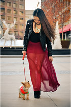 lime green necklace - black boots - brick red skirt