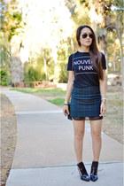 black Zara skirt - black Zara boots - black Zara top