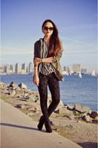 white stripes Zara blouse - black skull Zara leggings