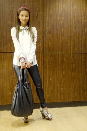 leather Marni bag - headband Forever 21 scarf - faux leather H&M pants