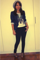 Forever 21 jeans - H&M blazer - H&M t-shirt - Mango wedges