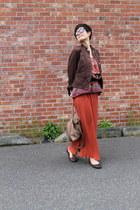 carrot orange pleated skirt Forever 21 skirt