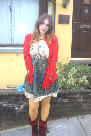 camaieu jacket - Present dress - new look stockings - belgian shop boots - Evans