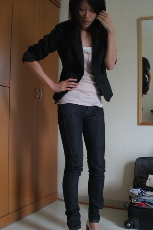 ax blazer - Topshop top - Mango jeans - mondo shoes