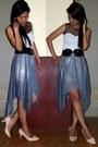White-blouse-black-belt-periwinkle-skirt-neutral-heels