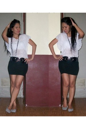 black skirt - heather gray flats - white blouse - black necklace - black belt