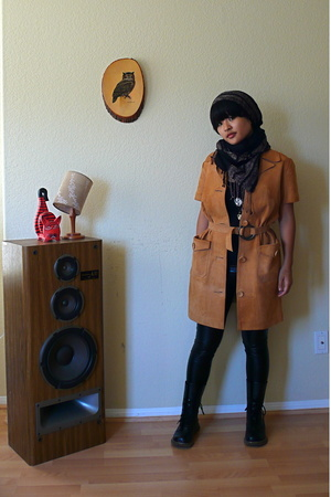 scarf - coat - Members Only tights - shoes