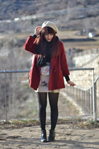 brick red thrifted coat - black moma boots - cream pepa loves skirt