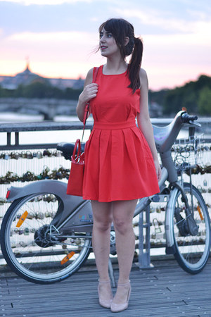 neutral asos shoes - red Sheinside dress