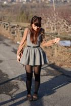 heather gray united colors of benetton dress - dark brown vintage bag