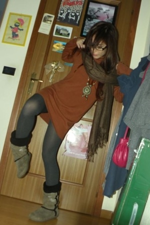 dress - necklace - socks - boots - scarf