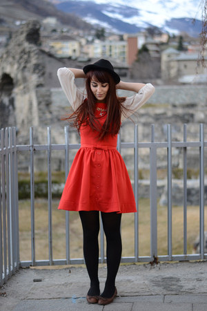 dark brown Mango flats - red asos dress - white hem blouse