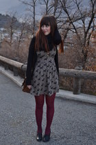 tan modcloth dress - black ovs shoes
