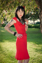 red Miss Sixty dress - silver Forever 21 necklace - studded kippys bracelet