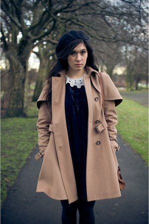 navy collar velvet tba dress - tan cape coat wool Topshop coat - brown alexa lea