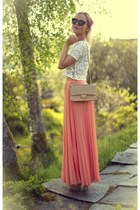 salmon maxi Zara skirt - camel Chanel bag - white Zara top - camel Zara wedges
