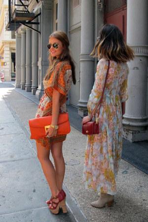 white unknown dress - carrot orange clutch Prada bag - ruby red unknown heels