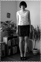 beige blouse - black skirt - black remix vintage shoes shoes