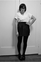 vintage thrifted t-shirt - American Aparel skirt - Wolford stockings - star ling