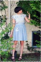 blue dress - brown coach purse - brown Kork ease shoes