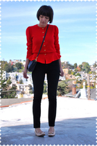 red vintage peplum Saks Fifth Ave cardigan
