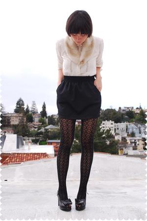 beige accessories - beige blouse - black American Apparel skirt - black remix vi
