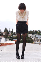 beige accessories - beige blouse - black American Apparel skirt - black remix vi