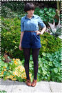 Blue-blouse-brown-belt-blue-shorts-blue-stockings-brown-shoes