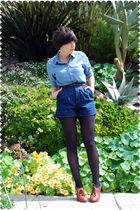 blue blouse - brown belt - blue shorts - blue stockings - brown shoes
