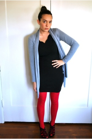 no-name from macys sweater - thrifted vintage express dress - Target stockings -