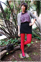 red vintage plaid blouse - black flats Juicy Couture shoes