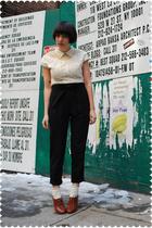 beige bb dakota from modcloth blouse - black Zara pants - beige Tabio socks - br