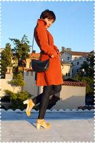 orange coat - blue jeans - yellow shoes - blue purse