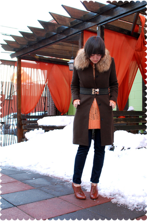 brown accessories - brown JCrew coat - orange sweater - white JCrew blouse - blu