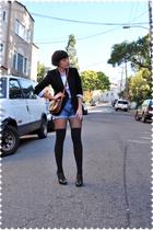 vintage jcrew blazer - JCrew blouse - thrifted vintage levis shorts - Drugstore
