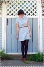 Blue-dress-brown-belt-blue-stockings-brown-seychelles-shoes