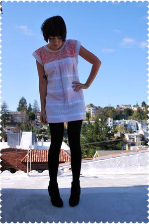 black Payless shoes - white vintage dress - black merino wool Wolford stockings