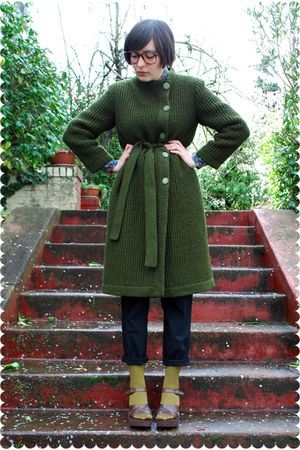 green coat - blue Liberty of London blouse - black Zara pants - green Target soc