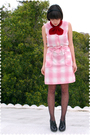 Red-yarnovermovement-accessories-pink-adelaides-homesewn-dress-black-tabio-s