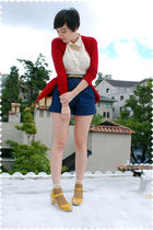 beige blouse - gold shoes - blue shorts - brown socks - beige belt