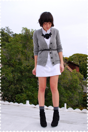 gray cashmere JCrew cardigan - black Payless shoes - white vintage eyelet dress
