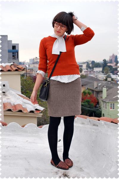 orange sweater - white blouse - brown steven alan skirt - black Wolford stocking