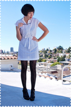 white eyelet mini vintage on ebay dress - black Steve Madden shoes